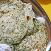 Garlic mustard & dandelion green chapati.
