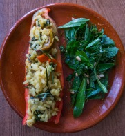 Excellent as a side for any dinner - here depicted with a stuffed pepper of rice, sow-thistle, and wild herbs.