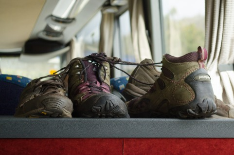 Tired shoes, ready for rest on the bus back to Santiago.