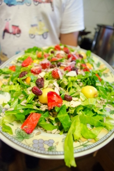 An extra special salad made at Albergue Verde.