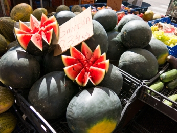 Fresh watermelon at a market.